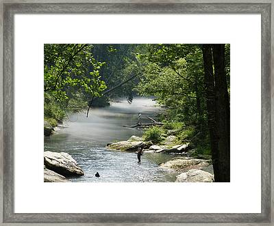 Fishing The Gunpowder Falls Framed Print by Donald C Morgan