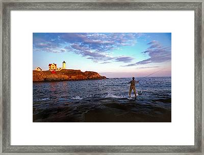 Fishing The Nubble Framed Print by Skip Willits