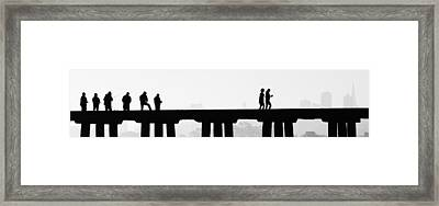 Fishing The San Francisco Skyline Framed Print