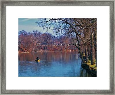 Fishing The Springtime River          Indiana Framed Print