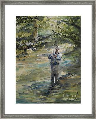 Framed Print featuring the painting Fishing The Sturgeon by Sandra Strohschein