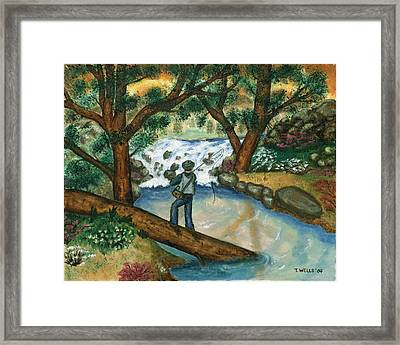Fishing The Sunny River Framed Print by Tanna Lee M Wells