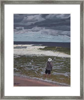 Fishing The Surf In Lavallette, New Jersey Framed Print