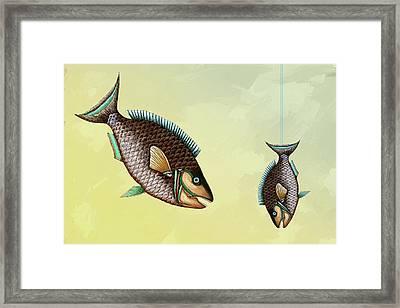 Fishing Trip Minimal Wall Art Framed Print