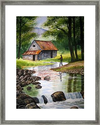 Fishing Upstream Framed Print