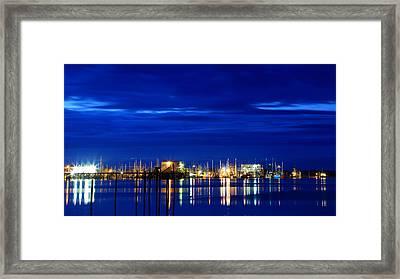 Fishing Village Blue Framed Print by Robert Bynum