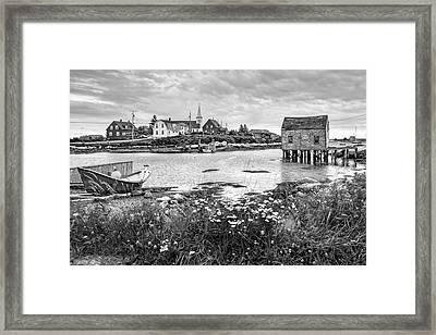 Fishing Village In Black And White - Nova Scotia Framed Print by Nikolyn McDonald