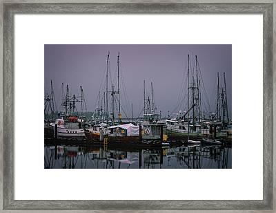 Fishing Wharf In Clearing Mist Framed Print by Richard Farrington