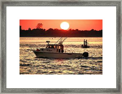 Fishing With Friends At Long Beach Island Framed Print by John Rizzuto