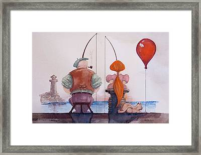 Fishing With Grandpa Framed Print