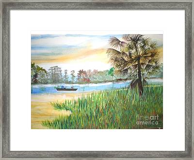 Fishing With My Son Framed Print by Hal Newhouser