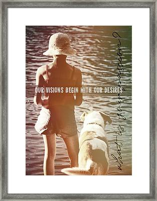 Fishing With The Pup Quote Framed Print by JAMART Photography
