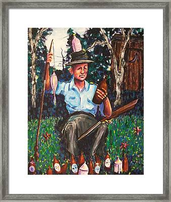 Fishing With Whisky Framed Print