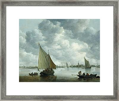Fishingboat In An Estuary Framed Print by Jan Josephsz van Goyen