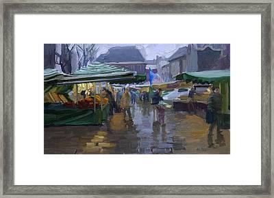 Fishmarket In The Rain Framed Print by Joost  Doornik