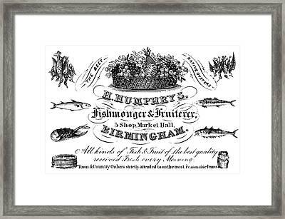 Fishmonger And Fruiterer, Trade Card Framed Print