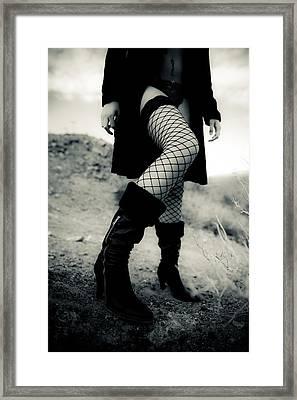 Fishnet Leg Framed Print by Scott Sawyer