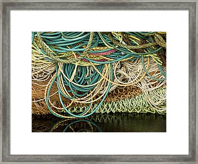 Fishnets And Ropes Framed Print