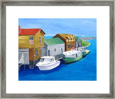 Framed Print featuring the painting Fishtown by Rodney Campbell