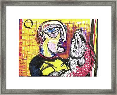 Fishy Hands Framed Print by Robert Wolverton Jr