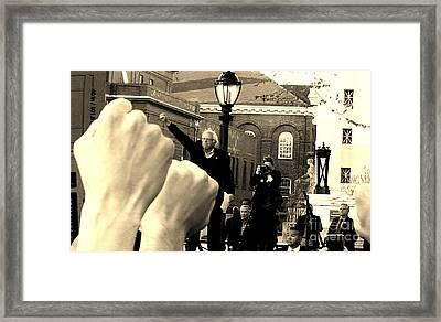Fists Up, Bernie Sanders, New Haven, Ct Framed Print by Dani McEvoy