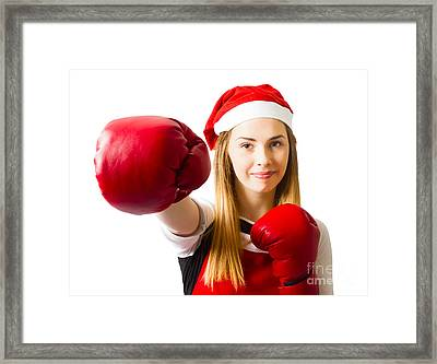 Fitness Holiday Christmas Girl. Boxing Day Framed Print by Jorgo Photography - Wall Art Gallery