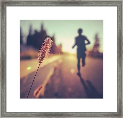 Fitness Training For Marathon At Sunset Framed Print