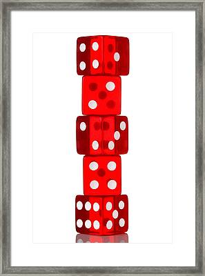 Five Dice Stack Framed Print by Richard Thomas