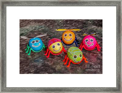 Five Easter Egg Bugs Framed Print by Sue Smith