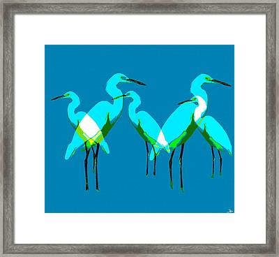 Framed Print featuring the painting Five Egrets by David Lee Thompson