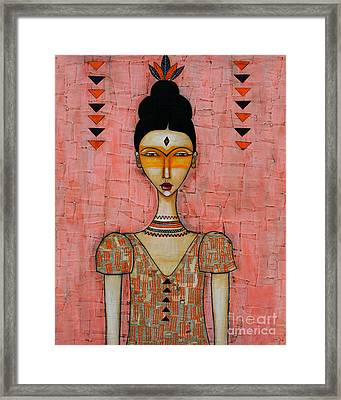 Framed Print featuring the mixed media Five Feathers by Natalie Briney