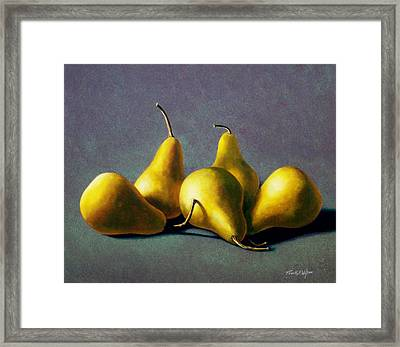 Five Golden Pears Framed Print by Frank Wilson