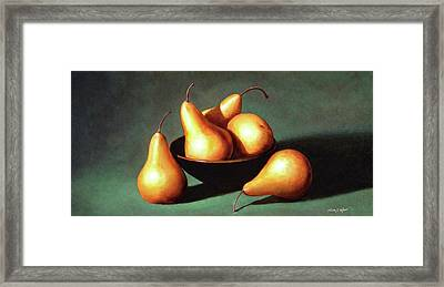 Five Golden Pears With Bowl Framed Print