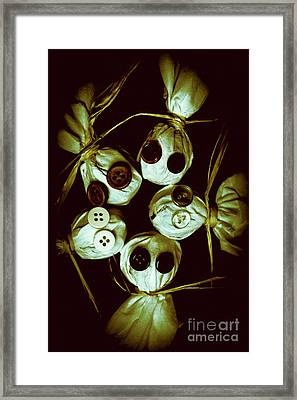 Five Halloween Dolls With Button Eyes Framed Print by Jorgo Photography - Wall Art Gallery