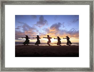 Five Hula Dancers At Sunset At The Beach At Palauea Framed Print