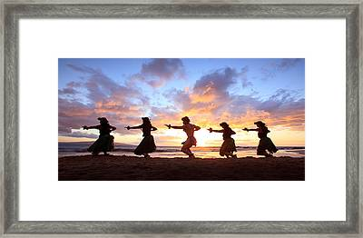 Five Hula Dancers At Sunset Framed Print by David Olsen
