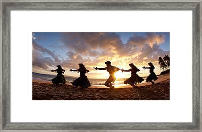 Five Hula Dancers On The Beach Framed Print