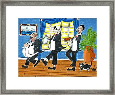 Five Italian Waiters Framed Print by Gordon Wendling