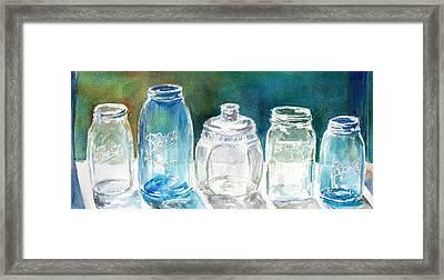 Five Jars In Window Framed Print by Sukey Watson