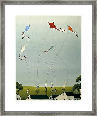Five Kites Flying Framed Print by Debbie Criswell