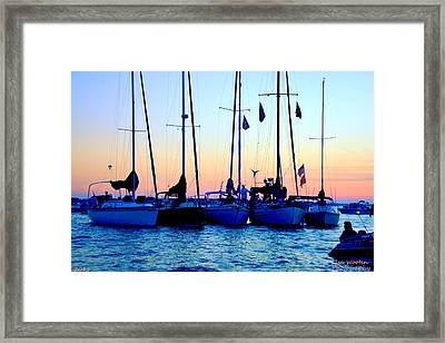 Five Little Sailboats Sitting In A Row Framed Print