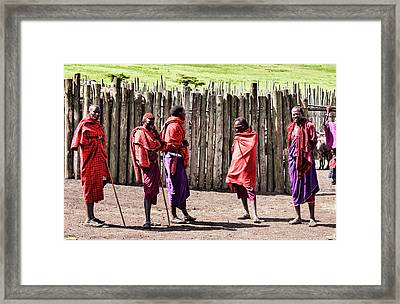 Five Maasai Warriors Framed Print