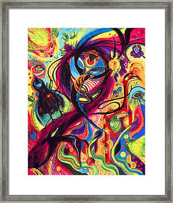 Framed Print featuring the painting Raven Masquerade by Marina Petro