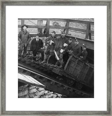 Five Miners Going Into The Slope Framed Print