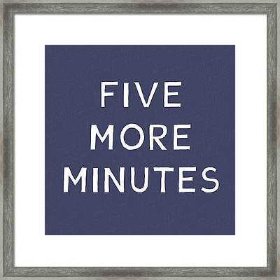 Five More Minutes Navy- Art By Linda Woods Framed Print