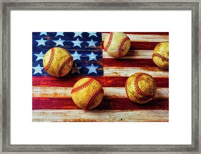 Five Old Baseballs Framed Print by Garry Gay