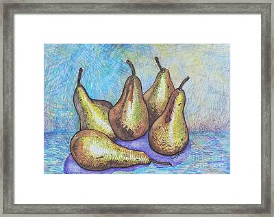 Five Pears Framed Print by Caroline Street