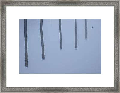 Framed Print featuring the photograph Five Poles And A Duck by Karol Livote