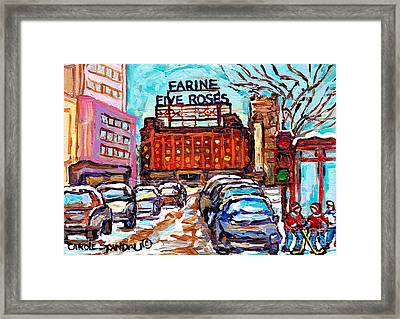 Five Roses Sign Montreal Landmark Marquee Street Hockey Painting Canadian Artist Carole Spandau      Framed Print