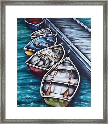 Five Rowboats Framed Print by Kristina Steinbring